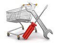 Shopping cart with tools clipping path included image Royalty Free Stock Images
