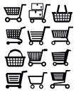 Shopping cart vector black icon set on white Stock Photos