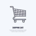Shopping cart vector flat line icons. Retail store supplies, trade shop, supermarket equipment sign. Commercial trolley