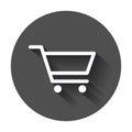 Shopping cart vector icon. Flat illustration on black round back