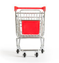 Shopping cart on white, front view Royalty Free Stock Photo