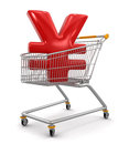 Shopping cart with yen clipping path included image Stock Photography