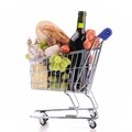 Shopping carte with groceries cart isolated on white Royalty Free Stock Photo