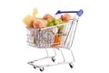Shopping carte with groceries cart on white Stock Photos
