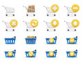 Shopping carts and baskets Stock Photos