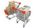 Shopping carts with boxes and money Stock Photos