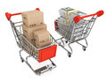 Shopping carts with boxes and money Royalty Free Stock Photo