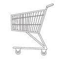 Shopping carts icon, line, sketch, doodle style. Metal trolley, for purchases in a supermarket on white Royalty Free Stock Photo