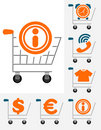 Shopping chart icon set Royalty Free Stock Image