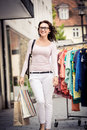 Shopping in the city young woman Stock Photography