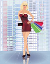 Shopping in city young woman with handbags vector illustration Royalty Free Stock Photos