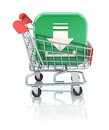 Shopping concept with download button and cart Royalty Free Stock Photos