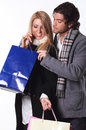 Shopping couple with bags Stock Image