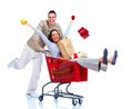 Shopping couple happy isolated on white background Royalty Free Stock Photography