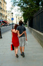 Shopping couple on a Paris street Stock Photography