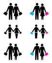 Shopping couples logo simple illustration of Stock Photos
