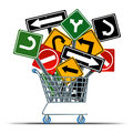 Shopping direction business acquisition concept and consumer guide to sales as a shop cart with a group of confusing traffic signs Stock Photography