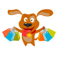 Shopping dog vector illustration of a with bags Royalty Free Stock Photo