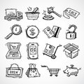 Shopping e-commerce sketch icons set Royalty Free Stock Photo