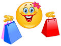 Shopping emoticon Stock Image