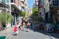 Shopping on Ermou Street on August 3, 2013 in Athens, Greece. Stock Image