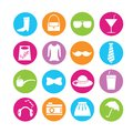 Shopping and fashion icons set of in colorful buttons Royalty Free Stock Images