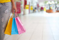 Shopping! Female Hand Holding Colorful Shopping Bags Royalty Free Stock Photo