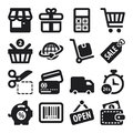 Shopping flat icons black set of about Stock Images