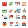 Shopping Flat Icons Set Royalty Free Stock Photo