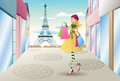 Shopping in france illustration of a woman Royalty Free Stock Photography