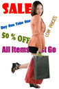 Shopping frenzy picture of a woman in a Royalty Free Stock Image