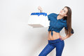 Shopping fun portrait of a gorgeous young brunette holding bags Royalty Free Stock Photos