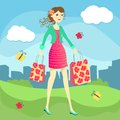 Shopping girl with bags city big sale Stock Photos