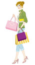 Shopping girl casual fashion vector illustration of Royalty Free Stock Photo