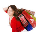 Shopping girl with group bag. Royalty Free Stock Photo