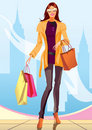 Shopping girl with shopping bag in New York Royalty Free Stock Photos
