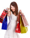 Shopping girl in white dress with group bag. Stock Photography