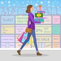 Shopping girl. Woman with colourful gift boxes and shopping bags Royalty Free Stock Photo