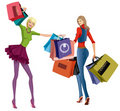 Shopping girls Stock Photos