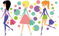 Shopping girls colorful vector cartoon illustration of Royalty Free Stock Photography