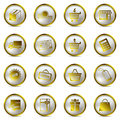 Shopping gold icons set Stock Image
