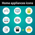 Shopping home appliances flat icon set on blue background each in separately folder Stock Images
