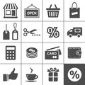 Shopping icon set simplus series Stock Photos