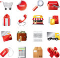 Shopping icons detailed set big Stock Photo