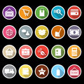 Shopping icons with long shadow stock Royalty Free Stock Photography
