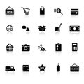 Shopping icons with reflect on white background Royalty Free Stock Photo