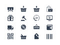 Shopping icons and retail set Royalty Free Stock Photos