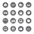 Shopping icons, round buttons Royalty Free Stock Photo