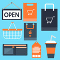 Shopping icons set basket bag label tag purse Royalty Free Stock Photo