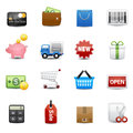 Shopping icons set basket money wallet icon delivery Royalty Free Stock Photography